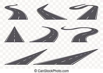jogo, asfalto, icons., estrada, perspective., curvado, rodovia