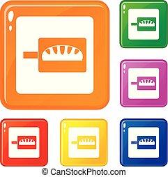 jogo, assando, ícones, cor, vetorial, pão