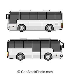 jogo, autocarro, experiência., vetorial, modelo, branca