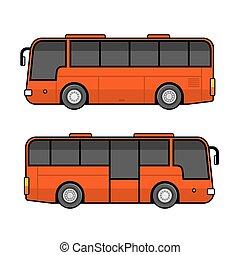 jogo, autocarro, experiência., vetorial, modelo, branco vermelho