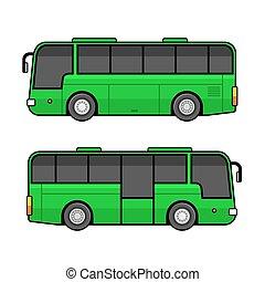 jogo, autocarro, experiência., vetorial, verde, modelo, branca