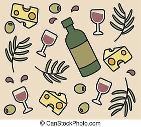 jogo, azeitonas, ícones, vetorial, garrafa, vinho, queijo