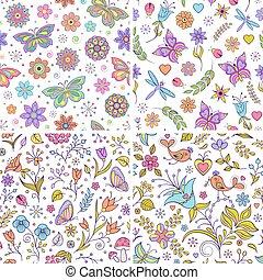 jogo, backgrounds., floral