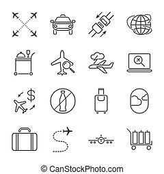 jogo, bagagem, illustration., ícone, avião, aeroporto, set., editable, alimento, icons., ar, apoplexia, vetorial, universal, via aérea, others., assento, viagem, cinto