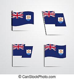 jogo, bandeira acenando, vetorial, desenho, anguilla