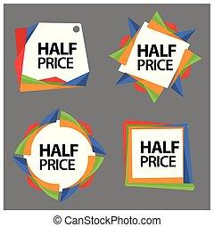 jogo, bandeira, bandeira, preço, metade, adesivos