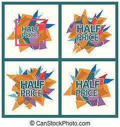 jogo, bandeira, banner., preço, cartão, metade, adesivos