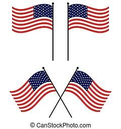 jogo, bandeira eua, waving, americano, vetorial, bandeiras