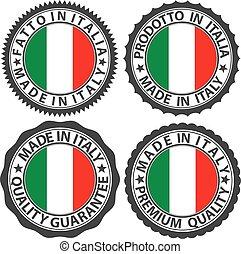 jogo, bandeira itália, ilustração, etiqueta, vetorial, feito, italiano