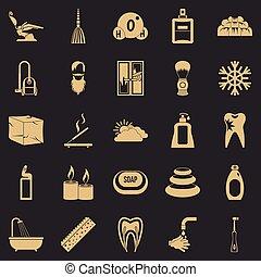 jogo, banhar, estilo, ícones simples