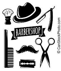 jogo, barbershop, acessório