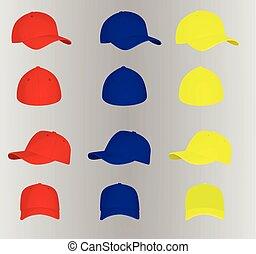 jogo, basebol, coloridos, bonés