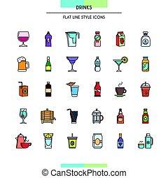 jogo, bebidas, ícones