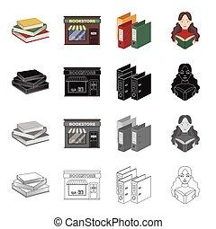 jogo, biblioteca, livros, monocromático, menina, estilo, ícones, livraria, pilha, pretas, pasta, estoque, adesivo, símbolo, web., book., ilustração, caricatura, esboço, vetorial, cobrança, biblioteca