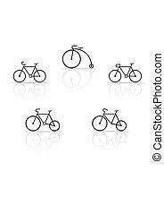 jogo, bicicleta, silhuetas, vetorial, fundo, branca