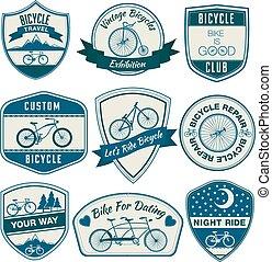 jogo, bicicleta, vindima, -, vetorial, emblemas