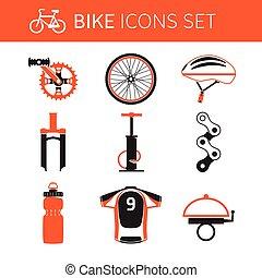 jogo, biking, engrenagem, ícone