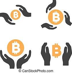jogo, bitcoin, vetorial, mãos, cuidado, ícone