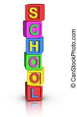 jogo, blocos, :, escola