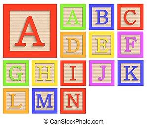 jogo, blocos, madeira, alfabeto, modernos, vetorial