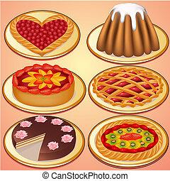 jogo, bolo, e, torta, com, morangos, cereja