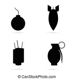 jogo, bomba, cor, ilustração, pretas, ícone