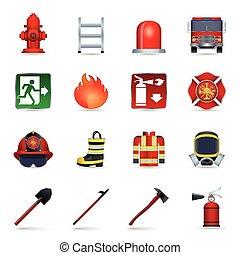 jogo, bombeiro, ícones