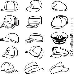 jogo, boné, isolado, vetorial, basebol, batida, chapéu branco, ícone