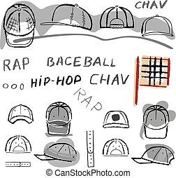 jogo, boné, tênis, basebol, chav, batida