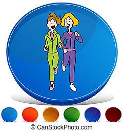 jogo, botão, dois, sacudindo, gemstone, mulheres