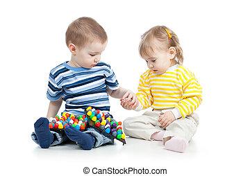 jogo, brinquedo, mosaico, crianças
