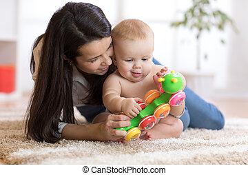 jogo, brinquedo, sala, dela, filho, mãe, bebê, crianças, cosy
