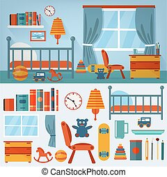 jogo, brinquedos, quarto, interior, crianças, mobília