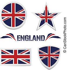 jogo, britânico, ícones