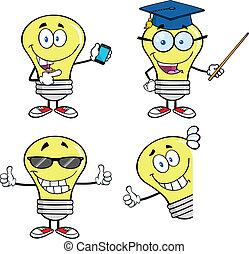jogo, bulbo, luz, cobrança, amarela, 2