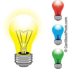 jogo, bulbos, luz colorida