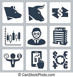 jogo, câmbio, ícones, dinheiro, vetorial, estoque