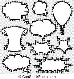 jogo, cômico, desenho, retro, borbulho fala