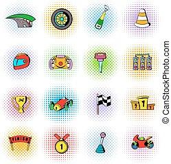 jogo, cômico, estilo, raça, ícones