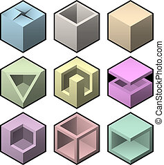 jogo, cúbico, vetorial, projete elementos, 3d