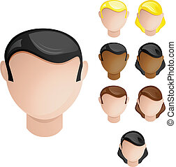 jogo, cabeças, pessoas, cabelo, cores, 4, pele, female., ...