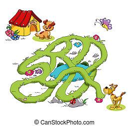 jogo, cachorros, labirinto