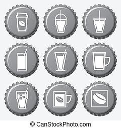 jogo café, copo, bonés, garrafa, ícone