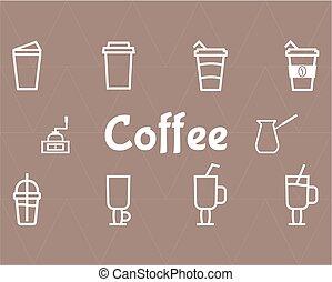 jogo café, linha, ícones