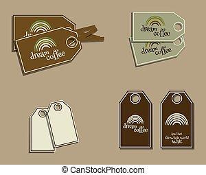 jogo café, restaurante, eco, adesivos, marca, etiquetas, -, theme., vetorial, ecologia, verde, café, etc., barzinhos, identidade, design.