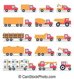 jogo, caminhões, ícones