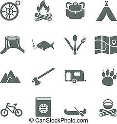 jogo, camping., ícones, viagem, vetorial, turismo