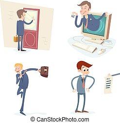 jogo, caráteres, vindima, ilustração, vetorial, desenho, retro, fundo, homem negócios, elegante, caricatura, ícone