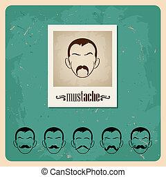 jogo, caras, bigodes