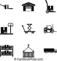 jogo, carga, estilo, ícones simples